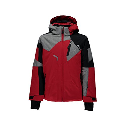 Price comparison product image Spyder Kids  Boy's Leader Jacket (Big Kids) Red/Black/Polar Herringbone 12