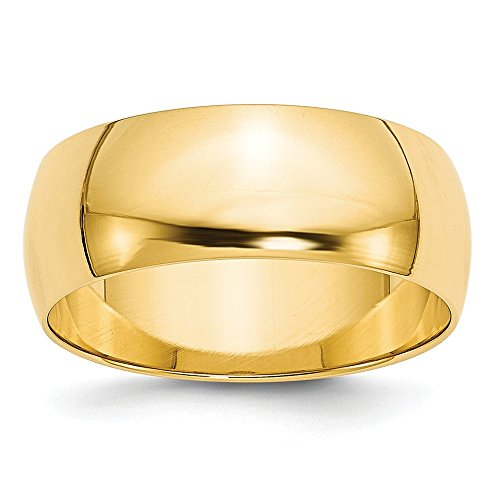 Solid 14k Yellow Gold 8mm Half Round Wedding Band Size 6 ()