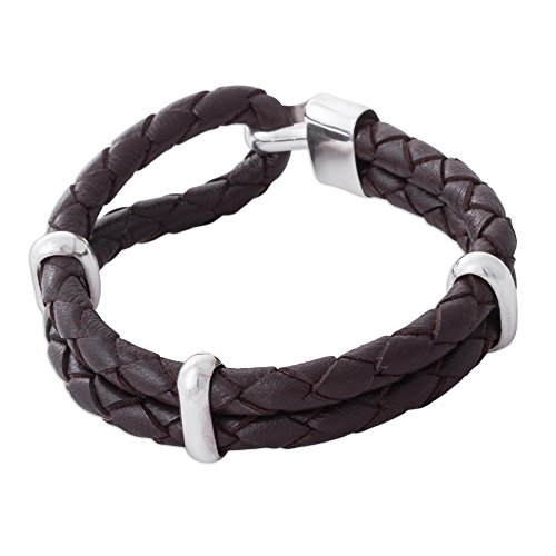 NOVICA .925 Sterling Silver Leather Men's Bracelet 'Desert Paths' by NOVICA