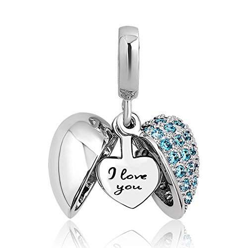 Charmed Craft Heart I Love You Charms Openable Crystal Charms Dangle Beads for Snake Chain Bracelets (Blue)