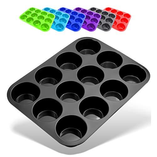 Belmalia Muffin Bakvorm Silicone, 12 Holtes, Antiaanbaklaag, Cupcake, Brownies, Muffins Vorm, Zwart