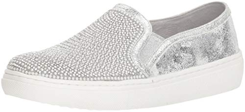 Skechers Women's Goldie-Rhinestone and Pearl Embellished Slip on Sneaker SIL 10 M US