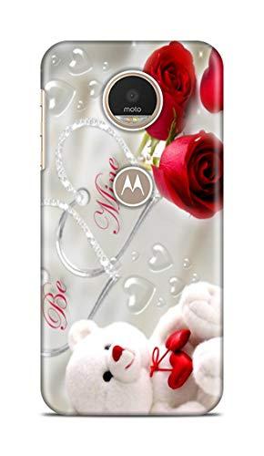 Shengshou Mobile Back Cover for Motorola Moto Z Play Design Teddy Bear Rose ABC312T31741