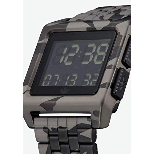 Adidas Watches Archive_M1. Men's 70's Style Stainless Steel Digital Watch with 5 Link Bracelet (36 mm).