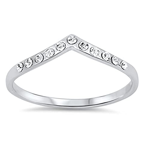 Chevron Pointed Arrow White CZ Promise Ring .925 Sterling Silver Band Size 10 (RNG14222-10) (Chevron Cz Ring)