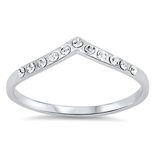 Chevron Pointed Arrow White CZ Promise Ring .925 Sterling Silver Band Size 9