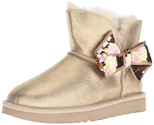 UGG Women's W Mini Sequin Bow Fashion Boot, Gold, 9 M US]()