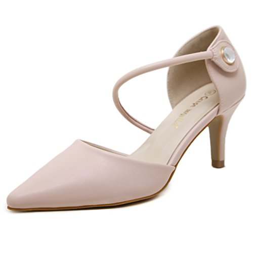 nbsp;para Uppers de mujer 1to9 punta picos zapatos low Rosado bombas Stilettos uretano de cut Uwdw0Pq