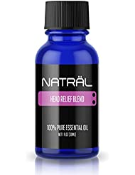 NATRÄL Head Relief Blend, 100% Pure and Natural Essential Oil, Large 1 Ounce Bottle