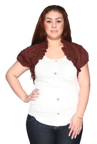 Libian Jr Plus Poplin Smocking Ruched Bolero Shrug (2X, Mahogany Brown)