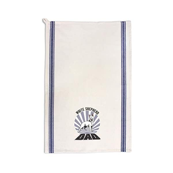 Custom Decor Kitchen Towels Dad White Shepherd Dog Pets Dogs Cleaning Supplies Dish Towels Blue Stripe Design Only 1