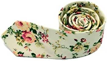 Tosangn Men Floral Cotton Skinny Slim Necktie Narrow Business Casual Tie(MK05)