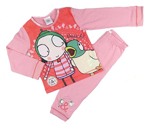 Childrens character Toddler Girls Sarah and Duck Pyjama Set Sleeping Ducks 18-24M to 4-5Y (18-24 Months, Pink and Peach) -