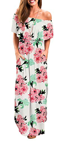 Womens Off Shoulder Floral Beach White X-Small Maxi Dress with Pockets