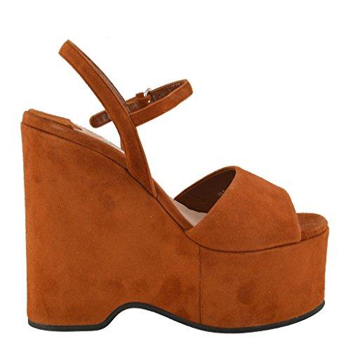 Platform Brown Shoes Brown Miu Leather Women's Suede Miu Sandals wxIXq7AP0