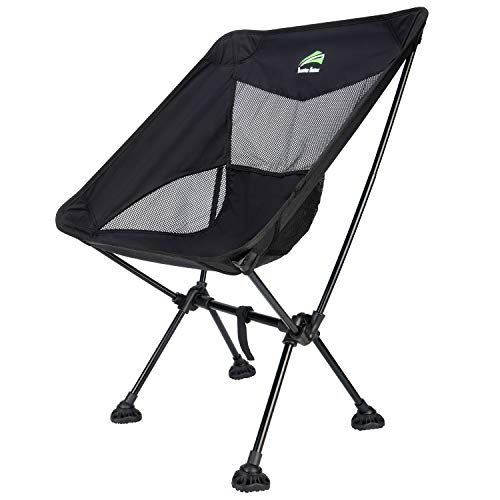 BERSERKER OUTDOOR Ultralight Compact Folding Camping Chairs Portable Lightweight Backpack Hiking Chair with All-Terrain Large Feet& Heavy Duty 300lbs for Outdoor Camp, Beach, Picnic, Travel(Black)