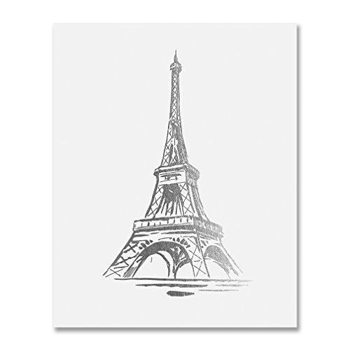 Tower Small Poster - Eiffel Tower Silver Foil Print Wall Art Home Decor France Small Paris Fashion Poster Metallic 5 inches x 7 inches B19