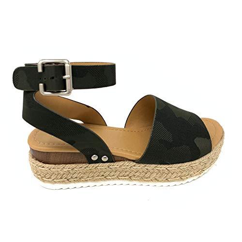 SODA Topic Topshoe Avenue Women's Open Toe Ankle Strap Espadrille Sandal (7.5 M US, KHA Camo)
