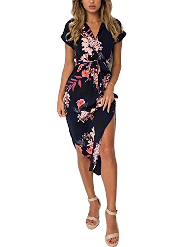 PORALA Womens Summer Dresses V-Neck Casual Geometric Pattern Midi Floral Print Belted Dress