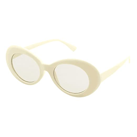 e4bf31bda5d82 XILALU Retro Vintage Clout Goggles Rapper Oval Shades Grunge Rimmed Glasses  UV400 Unisex Sunglasses (Beige