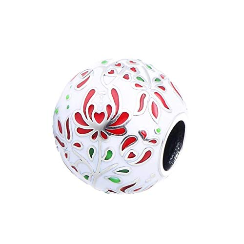 (Folk Art Inspired Secret Love - Red, White & Green Enamel Bead Matyo Flowers Charm Bead S925, Floral Red White Green Enamel Jewelry, Pandora compatible)