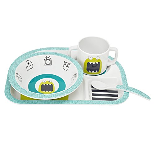 Lassig Melamine-Silicon Baby Dish/Feeding Set, Little Monsters Bouncing Bob (Tableware Monsters Little)