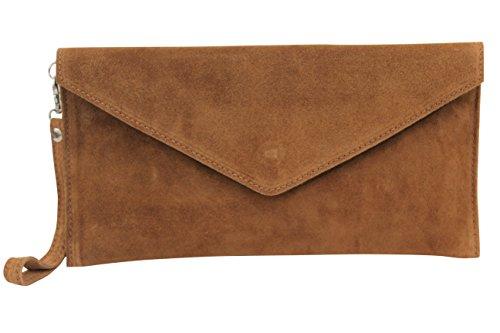 De Clutch Antebrazo Mano Velour Cognac Bolso Mujer Correa Envelope Piel Wl801 Hombro Ambra Ante Marrón Para Moda YRUqH