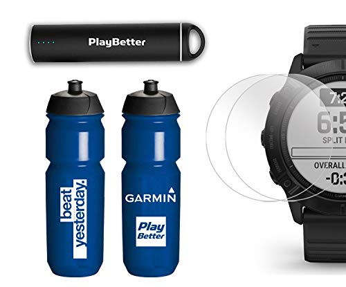 Garmin Fenix 6X Pro (Black with Black Band) Premium Bundle | Includes Garmin Water Bottle, HD Screen Protectors & PlayBetter Charger | PulseOx, PacePro, Maps, Spotify & Music