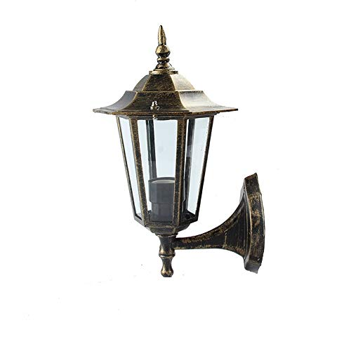 (Wylolik Retro Courtyard Wall Lamp Oil Rubbed Bronze Cast Iron Shell Black Fixture Villa Decoration Lamp Transparent Glass Exterior Wall Light Easy to Install Garden Porch Wall Sconce One-Light)