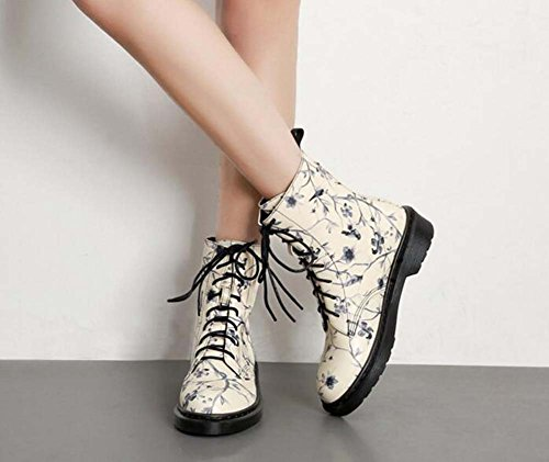 Eu Size Lace Boots Court 40 Dress Printing Round Retro Chunkly Toe 35 Casual Women Shoes Outdoor up 3cm Black Color Match Heel Martin Boots Shoes ZwY1PWRq