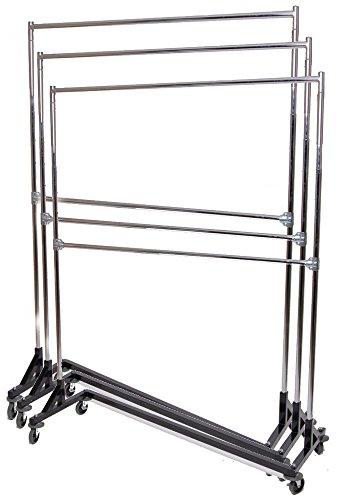 (Only Hangers Commercial Grade Double Bar Rolling Z Rack with Nesting Black Base (Set of 3 Racks))