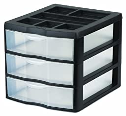 Sterilite 20439002 Medium 3 Drawer Desktop Unit, Black with Clear Drawers, 2-Pack