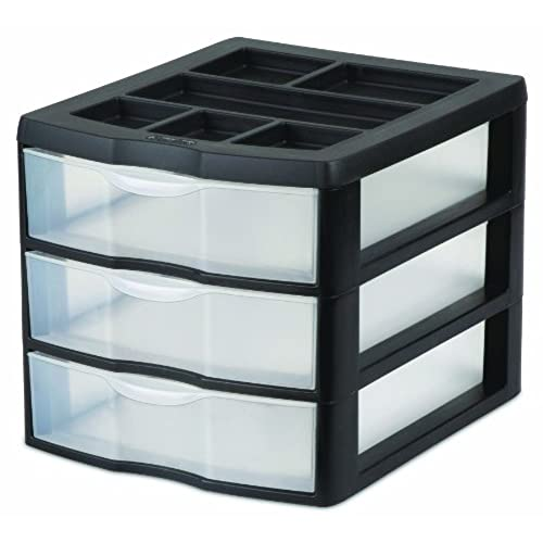 STERILITE 20439002 Medium 3 Drawer Desktop Unit, Black With Clear Drawers,  2 Pack