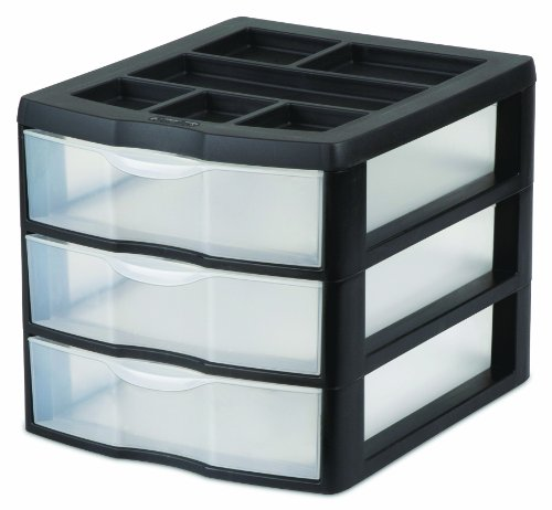 STERILITE 20439002 Medium 3 Drawer Desktop Unit, Black with Clear Drawers, (Black Plastic Desktop)
