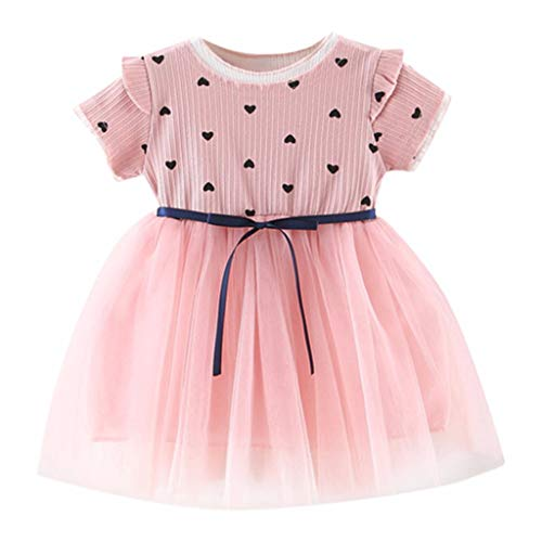 RAINED-Toddler Baby Girls Princess Dress Dot Tulle Tutu Skirt Ruched Patchwork Lace Party Clothes Pink