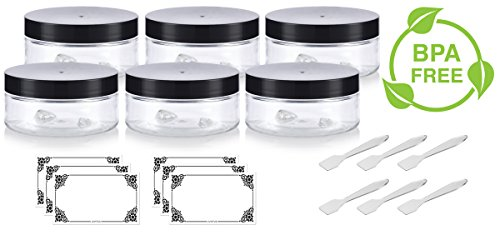 Refillable Low Profile Jars with Spatulas and Labels