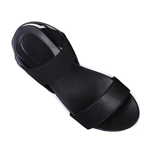 Upxiang Frauen Sommer Sandalen/Fisch Mund Schuhe Peep-Toe Low Schuhe/Student Sandalen/Damen Flip Flops/Frauen Römersandalen Schwarz