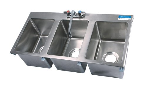BK Resources S/S 3 Compartment Drop In Sink W/Faucet 10u0026quot;x14u0026quot