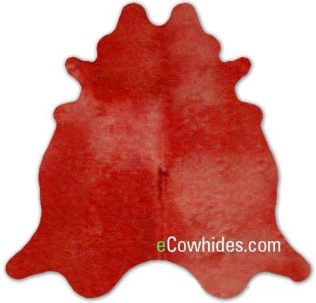 ecowhides Red Dyed Brazilian Cowhide Area Rug, Cowskin Leather Hide for Home Living Room (XL) 7 x 6 ()