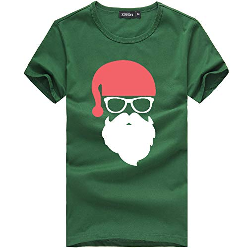 ANJUNIE Men's Christmas Tees Shirt Printing Short Sleeve Tops Casual Blouse (Army Green,M)
