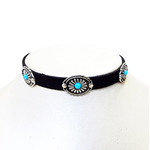 FERVENT LOVE Metal Faceplate Turquoise Choker Necklace, Bohemian - Faceplates Turquoise