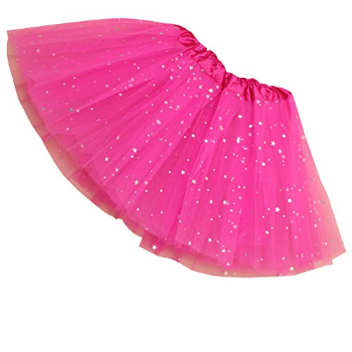 Bjinxn Girls Sparkle Tutus Princess Ballet Dance Layered Tulle Fluffy Tutu Skirt Rose Red -