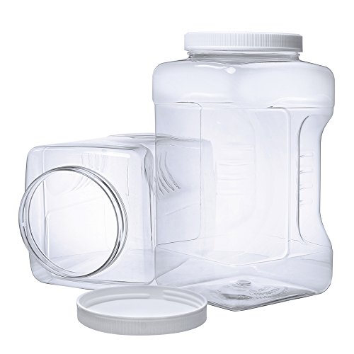 2 Pack - 1 Gallon Large Clear Empty Plastic Storage Jars with Lids - Square Food Grade Air Tight Wide Mouth Container with Easy Grip Handles - BPA Free Multi Purpose Jar (Clear Lid Handle)