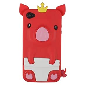[PcM]Red Cute Crown Pig Silicone Case for Apple Iphone 4 4s
