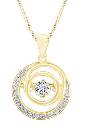 Pendant Diamond Multi Circle - Round Cut White Natural Dancing Diamond Multi Circle Pendant Necklace In 14k Solid Yellow Gold (0.19 cttw)