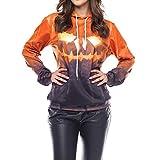 Clearance Sale! Padaleks Mens and Womens 3D Ghost Print Halloween Long Sleeve Hoodie Sweater Top
