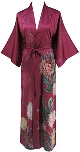 Ledamon Women's Silk Satin Kimono Long Robe - Classic Floral Nightgown Bathrobe Sleepwear (Wine - Satin Nightgown Floral