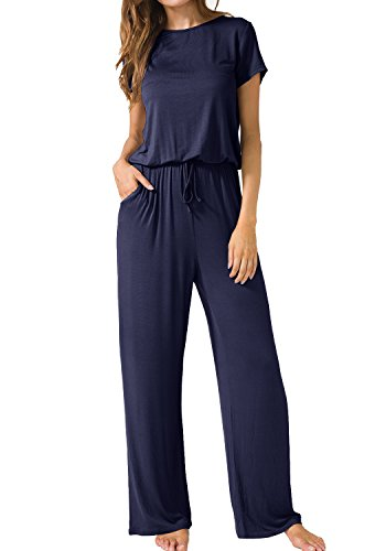 LAINAB Womens Casual Loose Fit Wide Leg Short Sleeve Pockets Jumper Deep Blue S