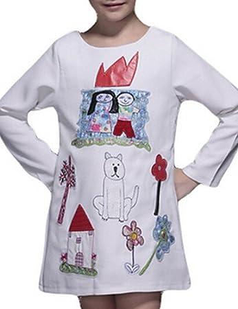 ZH de niña vestido blanco, dibujos animados algodón Primavera/Otoño Blanco blanco: Amazon.es: Deportes y aire libre