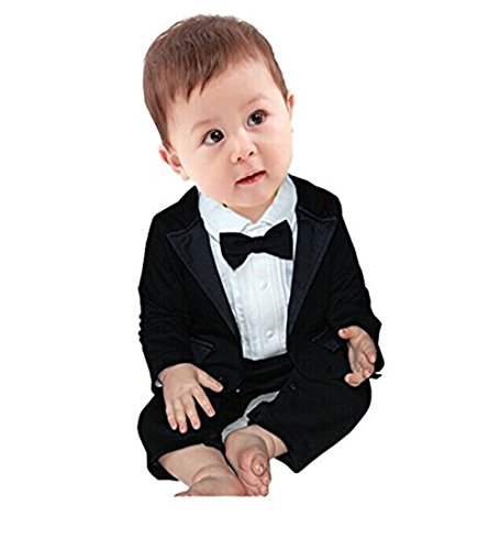 iEFiEL 2pcs Baby Boys Long Sleeve Tuxedo Wedding Romper and Jacket (Black, 12-18 Months)
